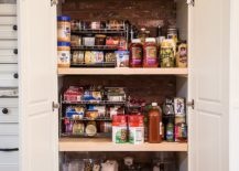 Small-traditional-kitchen-cabinet-pantry-with-brick-wall-backdrop-217x155