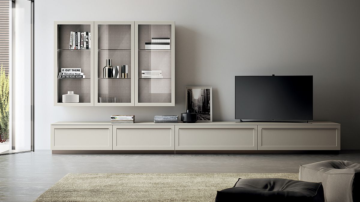 Smart and sleek TV unit and storage cabinet sits at the heart of the new living space