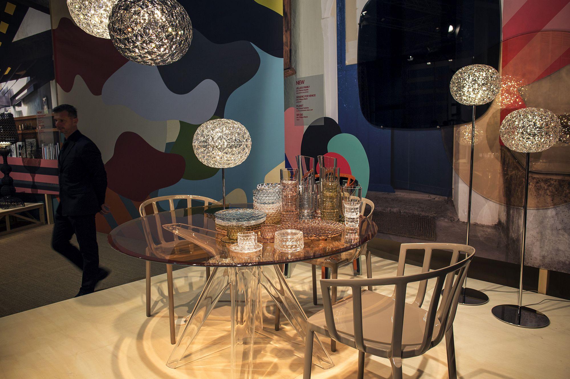 Snazzy floor lamps usher in glassy glint