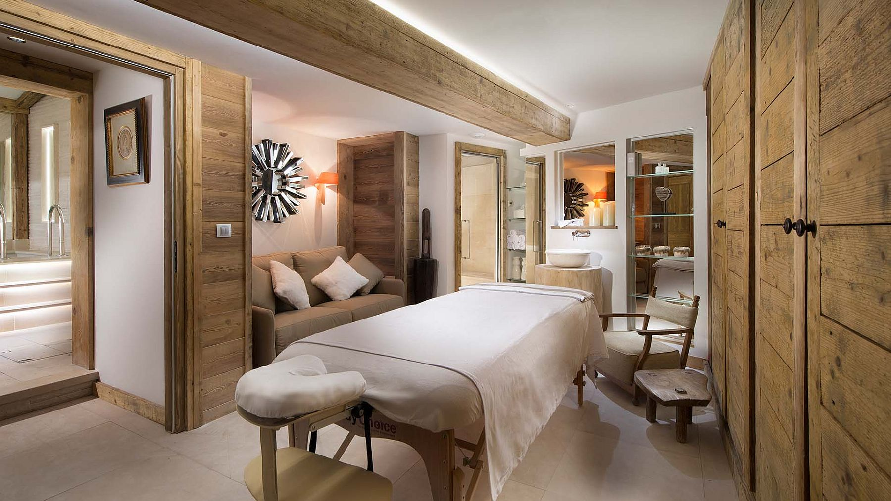 Spa and massage room at fabulous French chalet among the alps