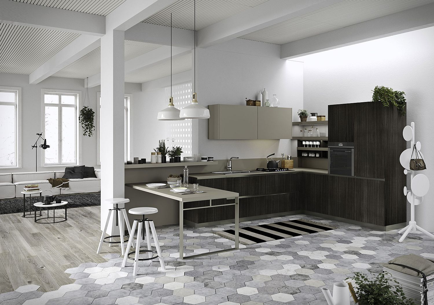 Space-savvy kitchen composition with slim breakfast bench and hexagonal tiles