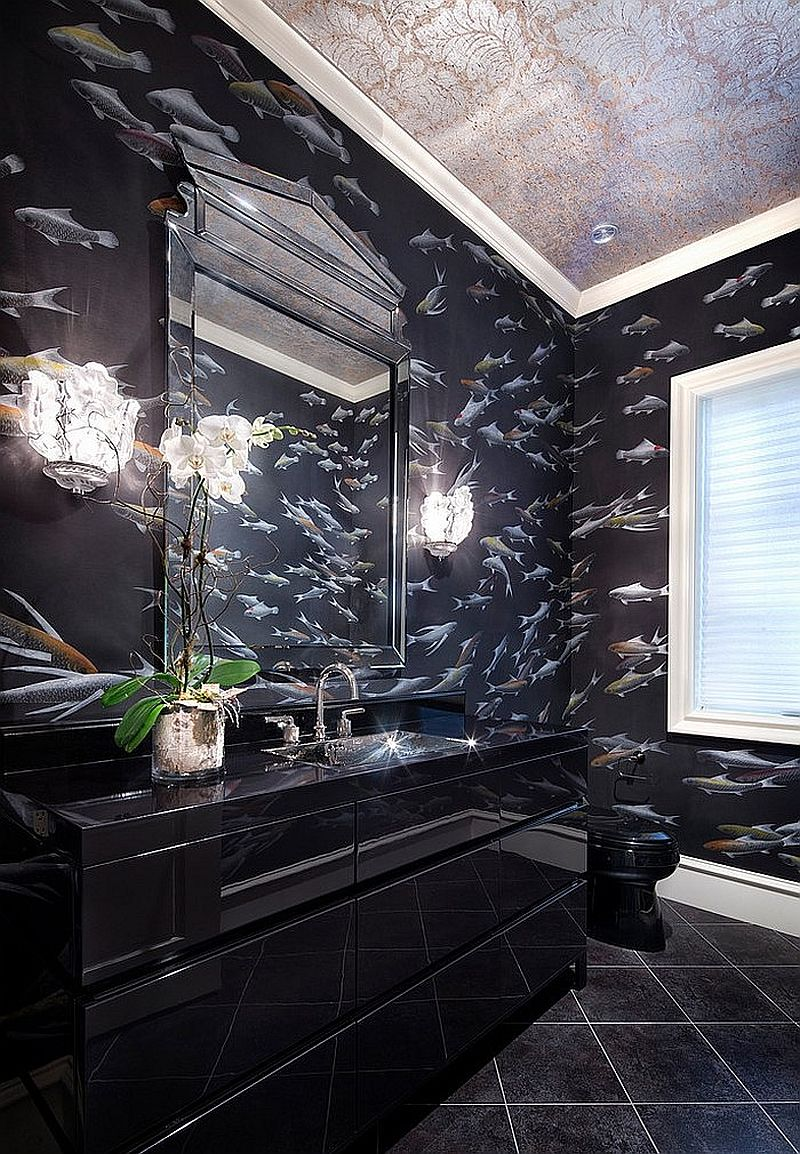 Sparkling black bathroom vanity seems to blend into the black, wallpapered backdrop