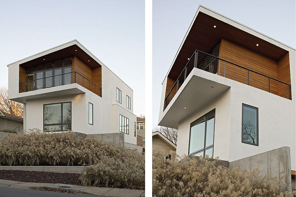 Stained cedar adds warmth to the modern home in white
