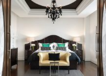 Striking black chandelier for the bedroom in white 217x155 20 Bedroom Chandelier Ideas that Sparkle and Delight!