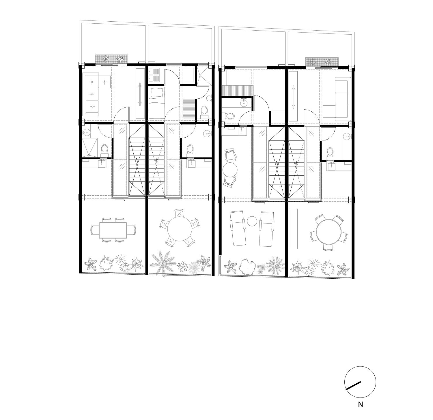 Top level plan with terrace and outdoor dining