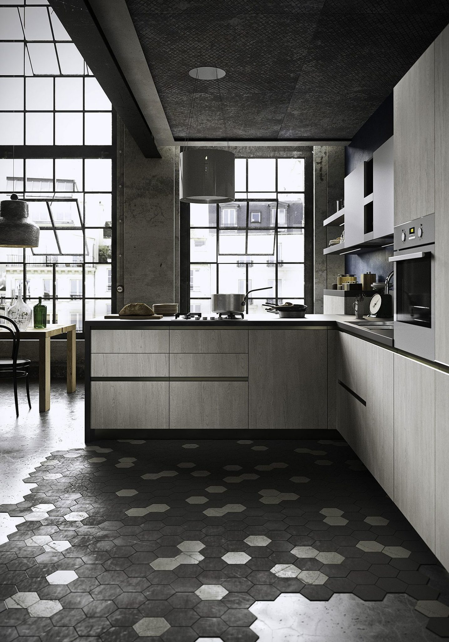 Ultra-minimal kitchen with hexagonal floor tiles