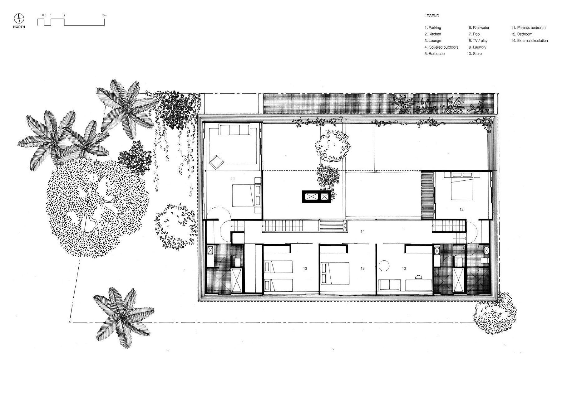 Upper level floor plan of Mitti Street House