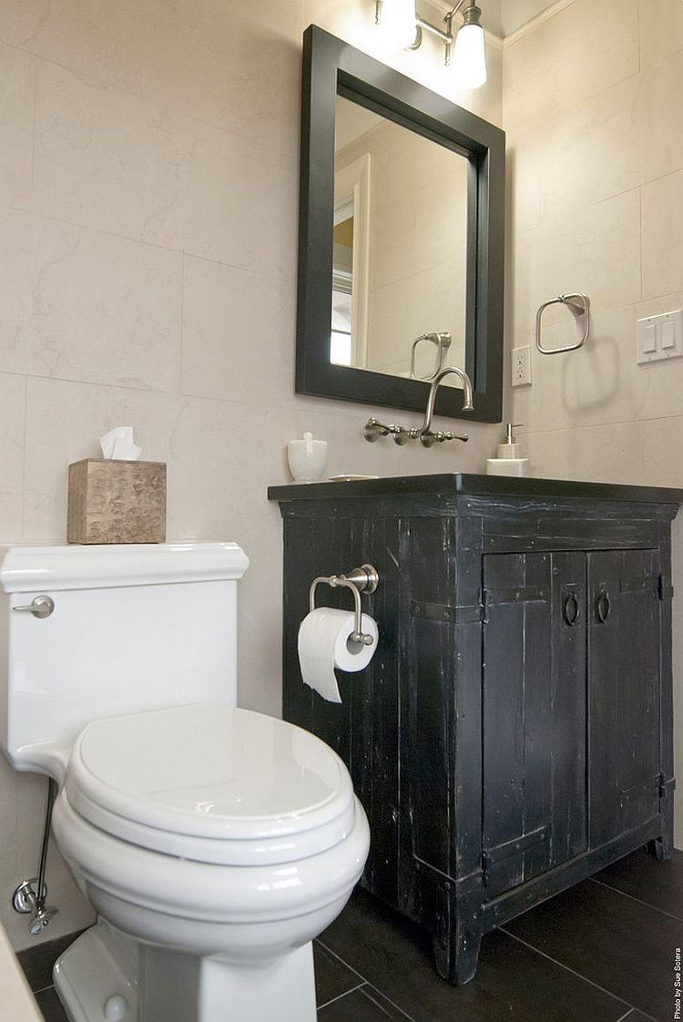 Vanities with worn and distressed finishes are back in trend