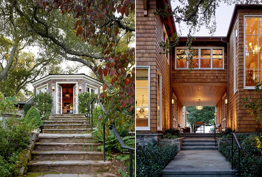 View of the leafy outdoors and walkways around the Californian home