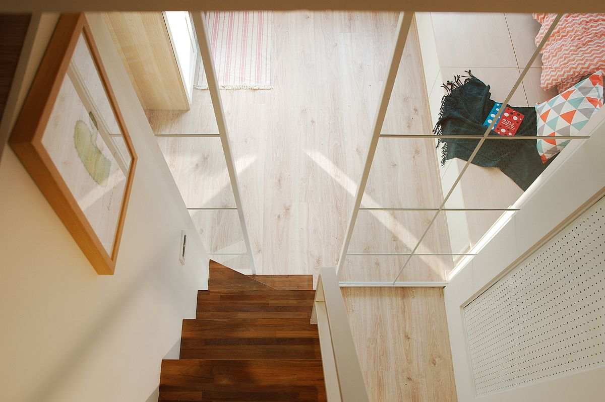View of the staircase leading to the loft bedroom