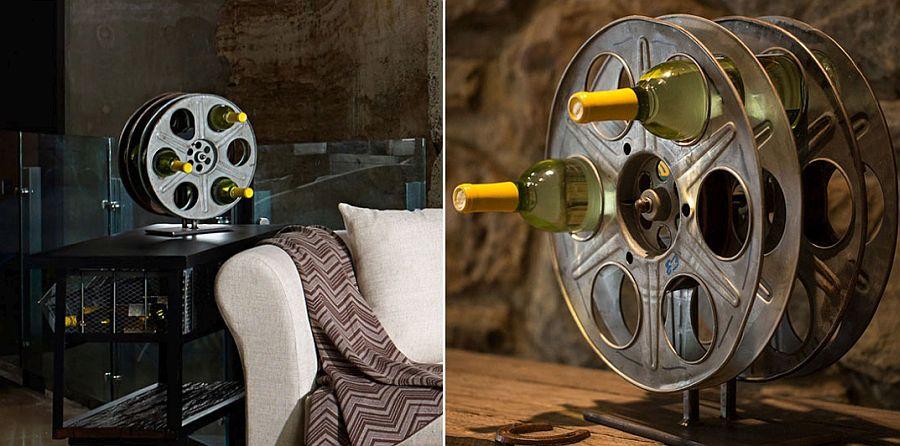 Vintage film reel DIY wine rack