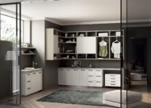 Wardrobes and storage racks are combined with the bathroom and laundry space hybrid 217x155 Inventive New Scavolini Composition Combines Bathroom with Laundry Space