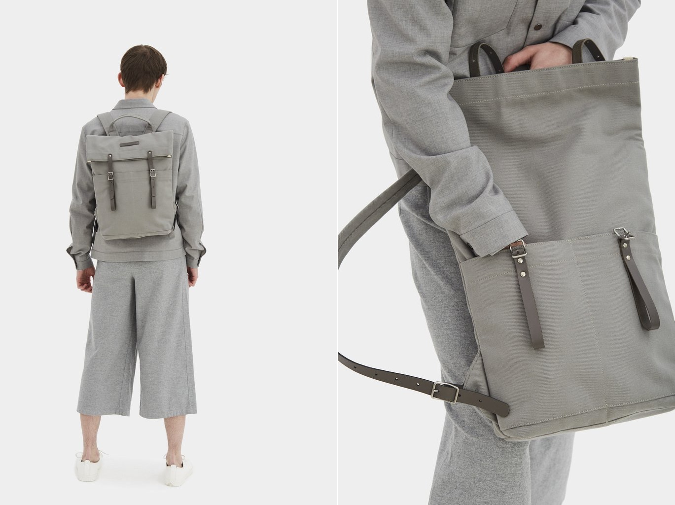Waxed grey newspaper rucksack