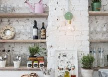 Attrayant View In Gallery Modern Farmhouse Kitchen With Rustic Shelving And A Dark  Backdrop [From: Anthropologie Europe]