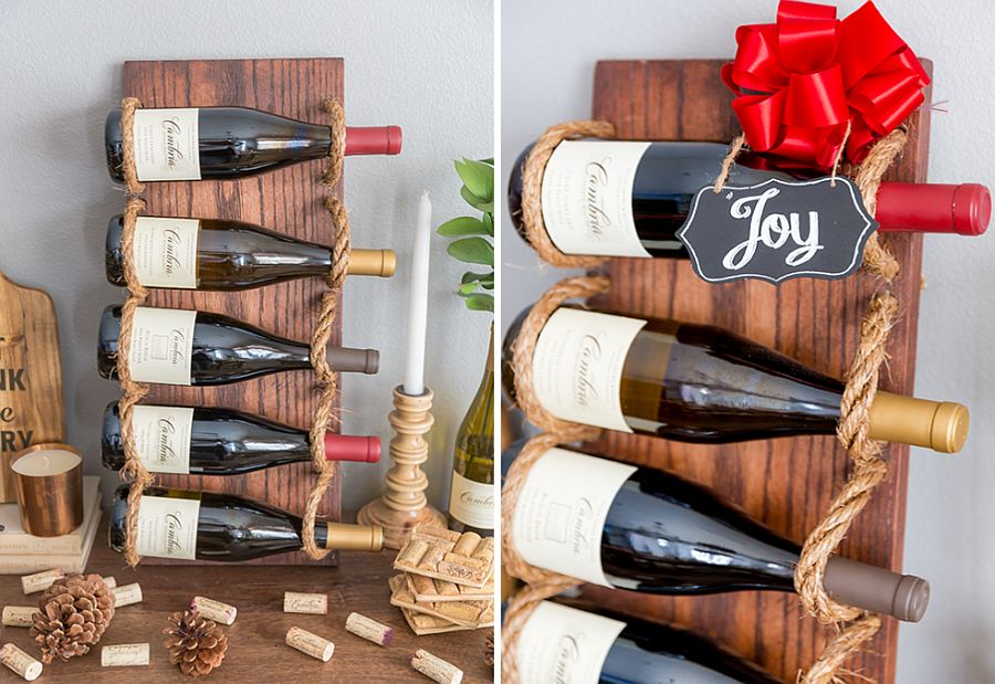 Wood and rope DIY wine rack