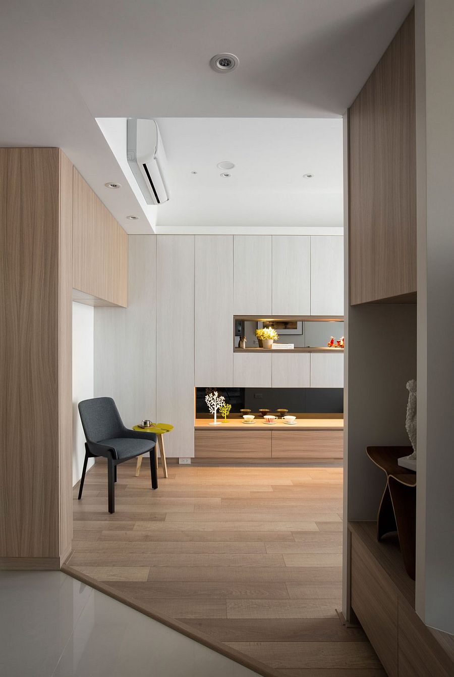 Wood and white create an inviting contemporary residence