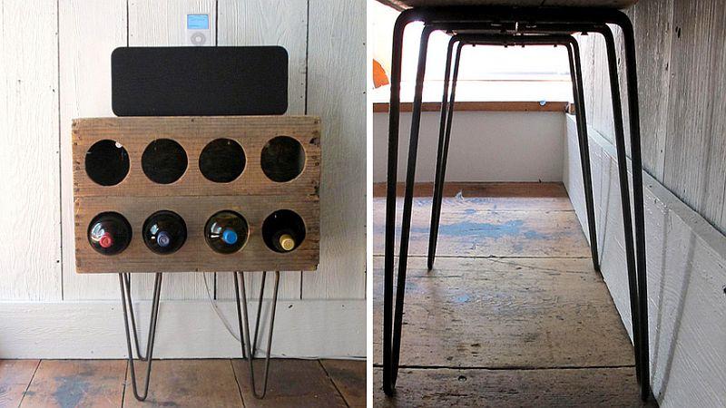 Wooden DIY wine rack with hairpin legs
