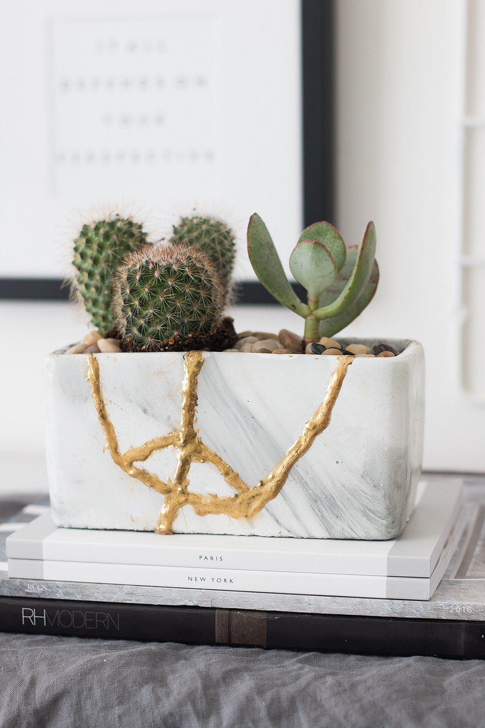 A closer look at the unique DIY Kintsugi planter with metallic glint