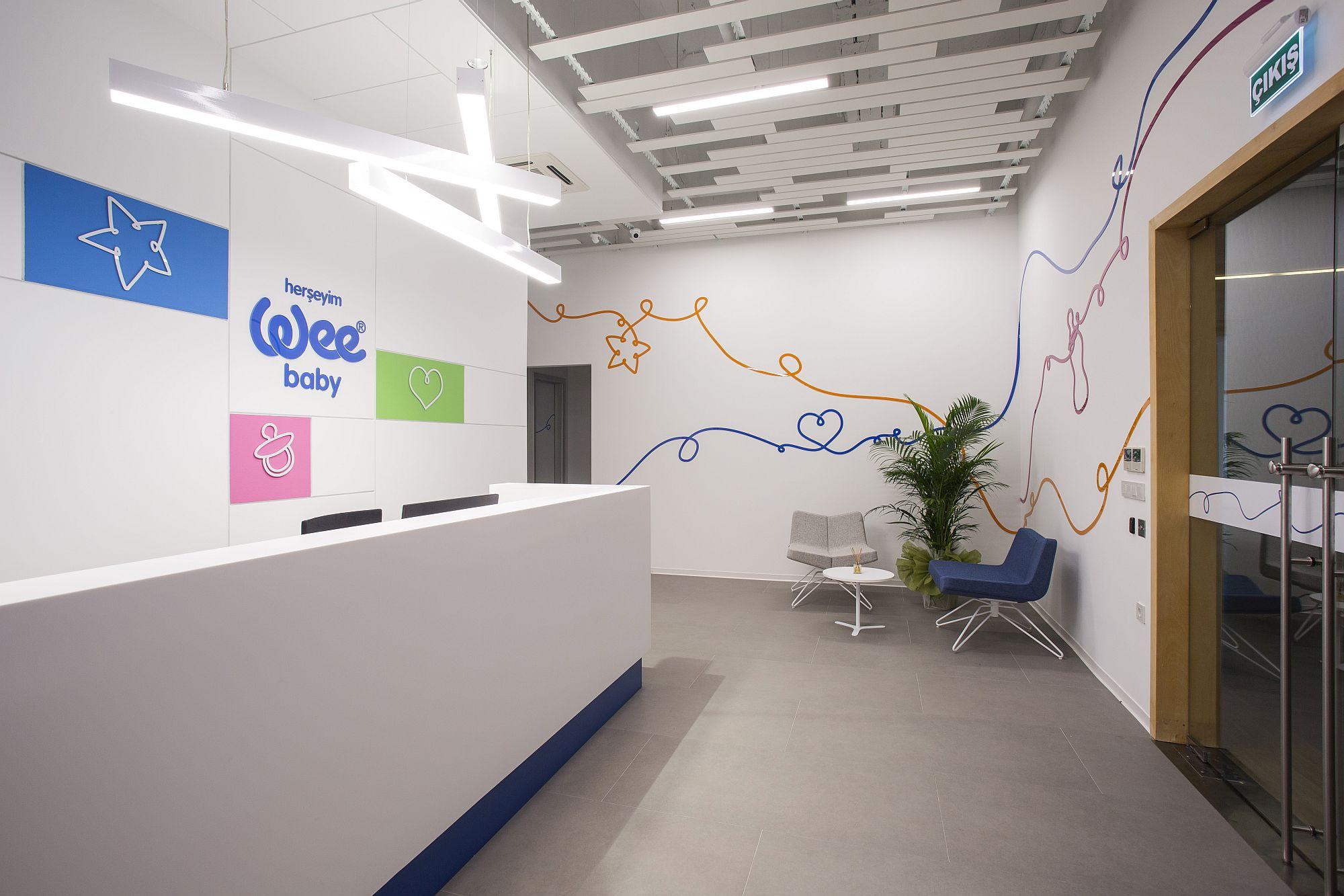 Burda Bebek company's office in Istanbul in white and splashes of color