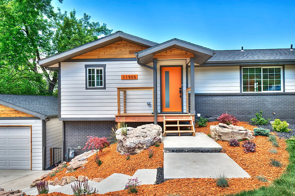 Cheerful-exterior-of-modern-home-in-white-gray-and-orange