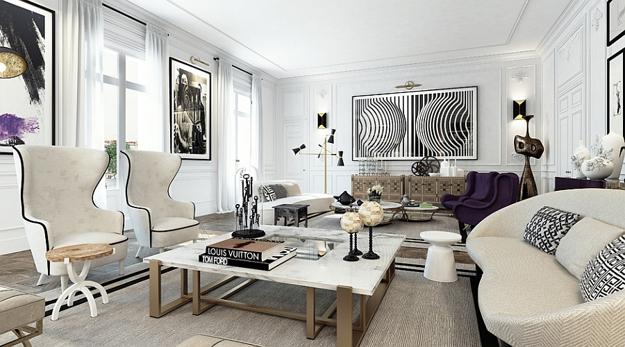 Chic-monochromatic-living-room-in-white-with-purple-accents
