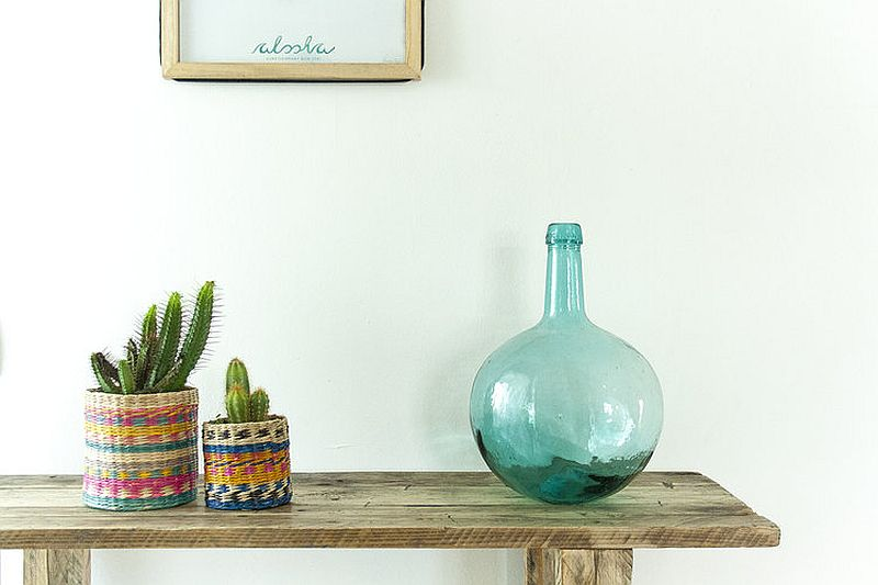 Colorful vases and woven baskets usher in breezy beach style