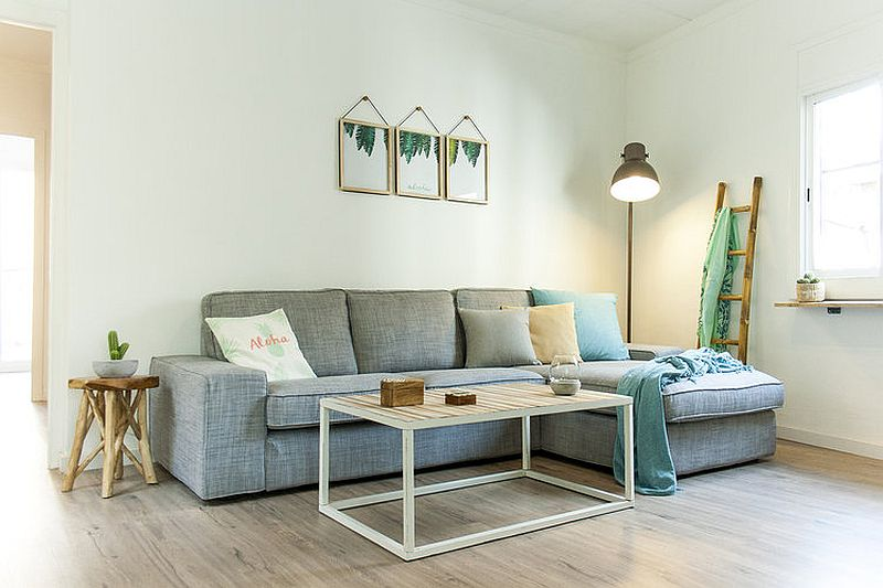Comfortable gray sectional in the corner