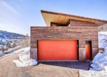 Contemporary-garage-in-wood-with-bright-orange-doors-217x155