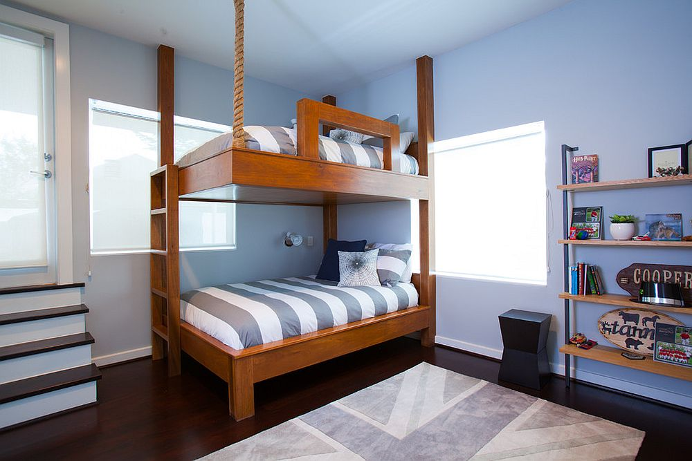 Contemporary kids' room with bunk beds and a rug with Union Jack motif