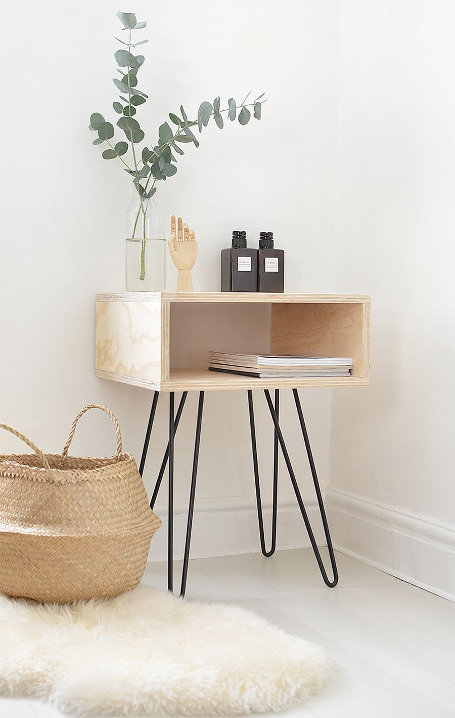 DIY Midcentury modern nightstand with hairpin legs