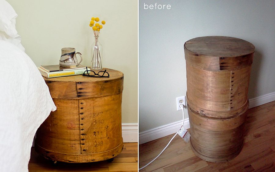 DIY Nightstand crafted using old cheese boxes is a smart space-saver!