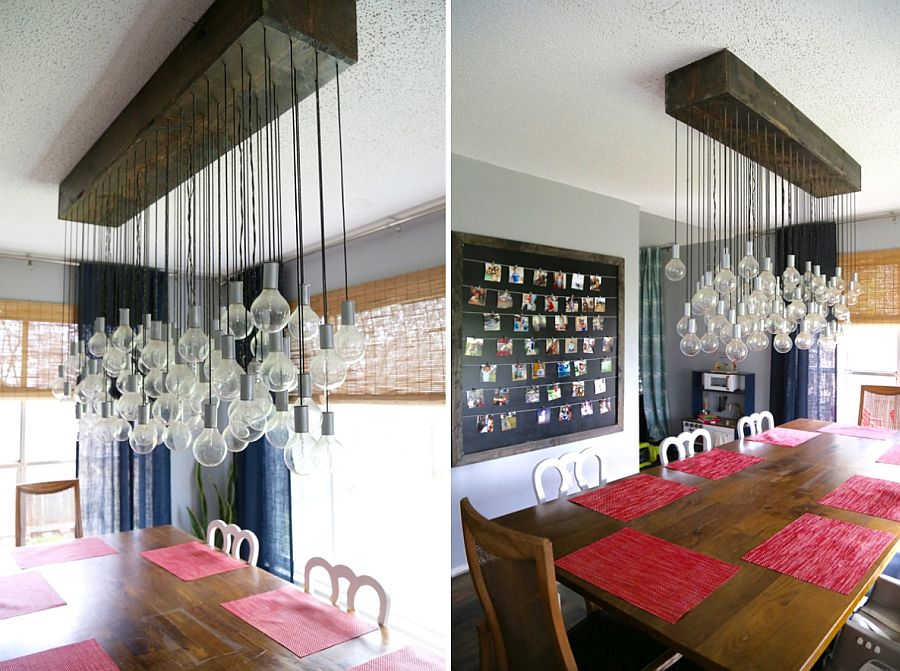 DIY dining room chandelier with Edison bulbs