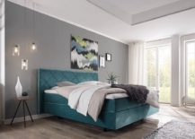 Dashing contemporary bedroom in white and gray with blue Boxspring 217x155 Sweet Dreams: Ultra Comfortable Boxspring Bed Offers Endless Possibilities