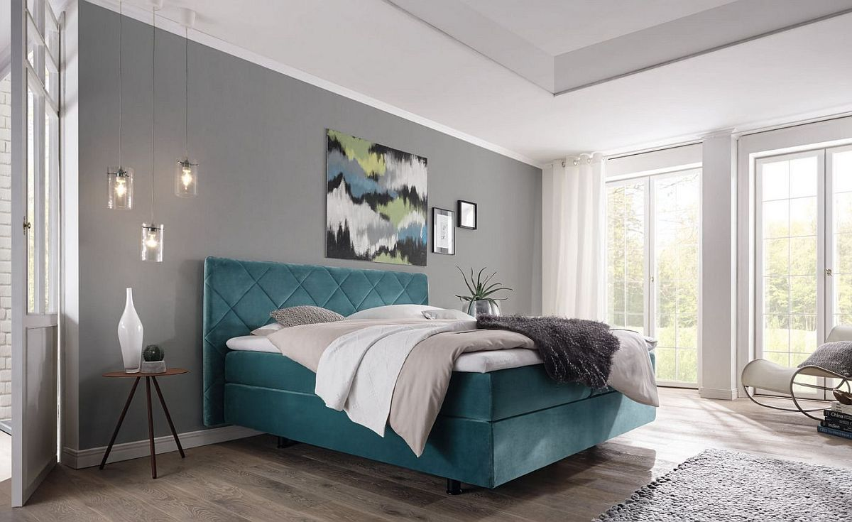 Dashing contemporary bedroom in white and gray with blue Boxspring
