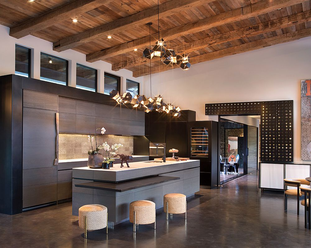 Double height rustic kitchen with gorgeous pendant lighting