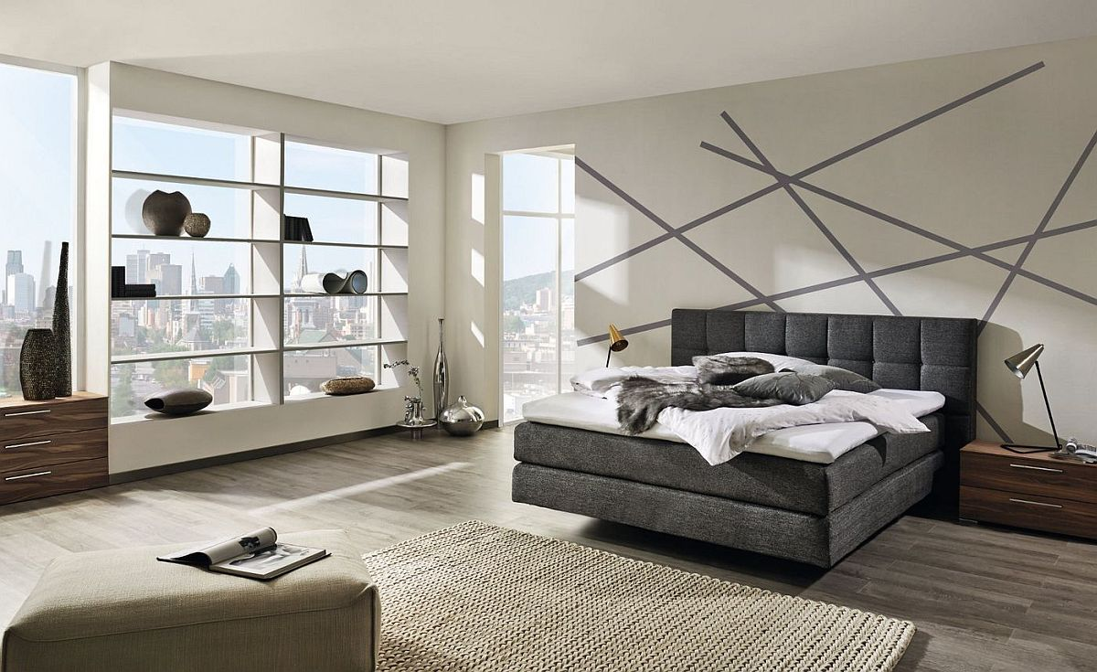 Elegant bedroom with a view of the city skyline