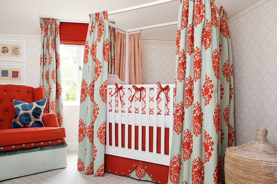 Everything from curtains to crib and bedding brings orange glam to this space-savvy nursery idea