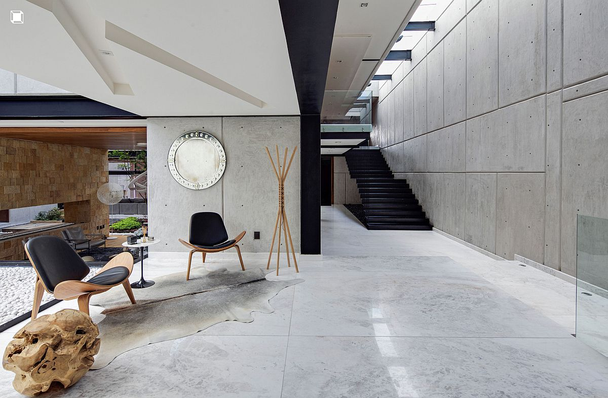 Exposed concrete gives the interior a stylish, contemporary look