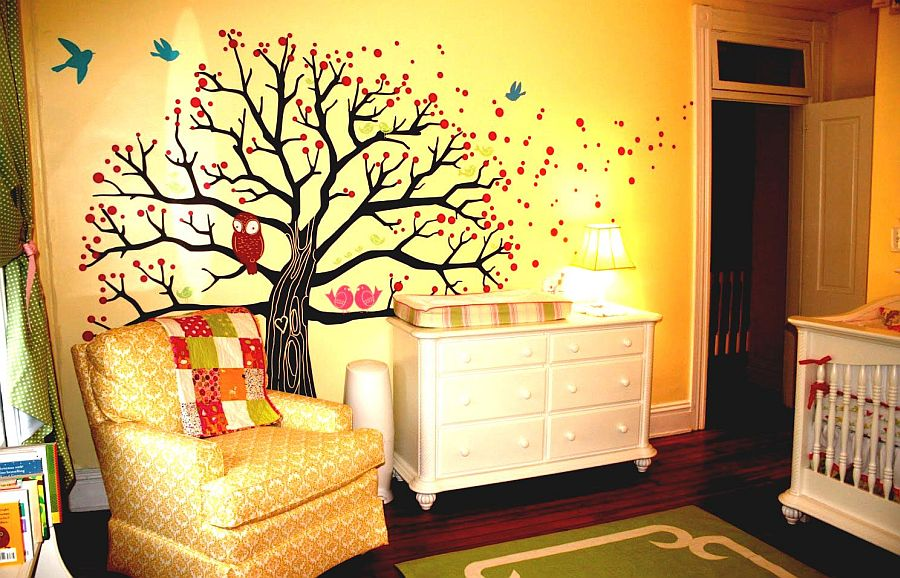 Finding the right wall mural for the bold orange nursery