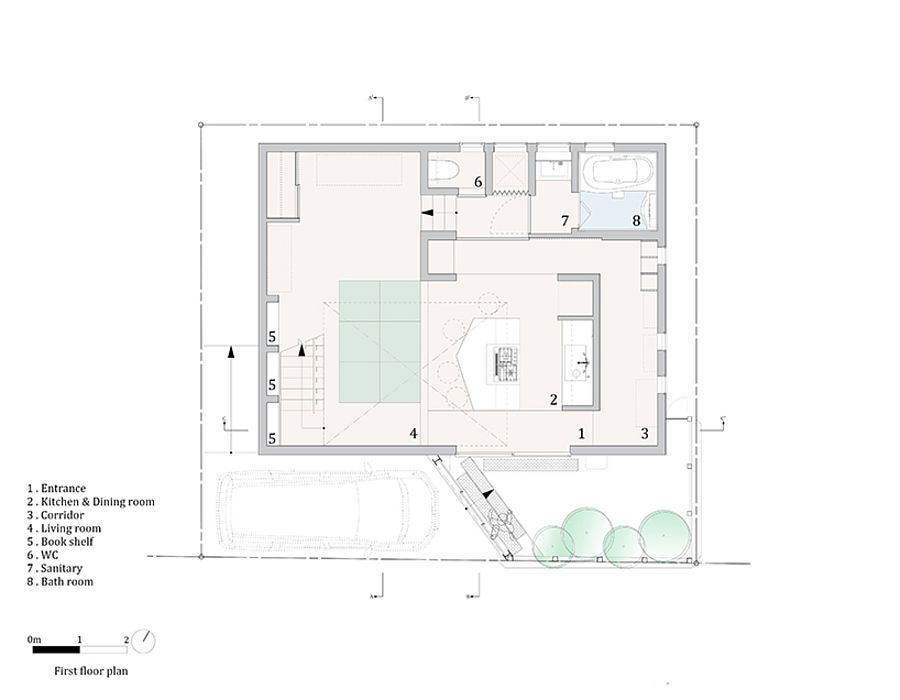 First floor plan with living area and kitchen