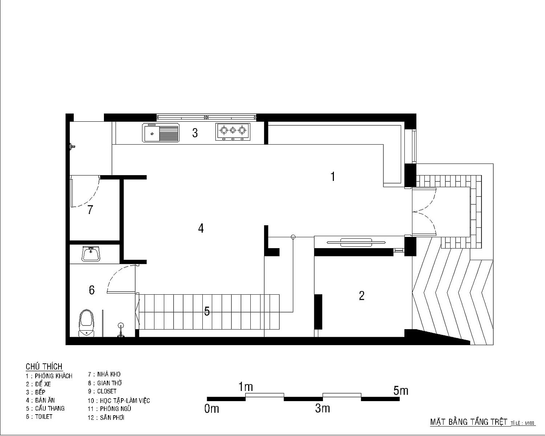 Floor plan of lower level of family home in Vietnam