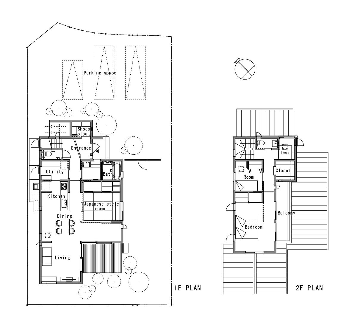 Floor plan of modern family home in Japan connected with the view outside