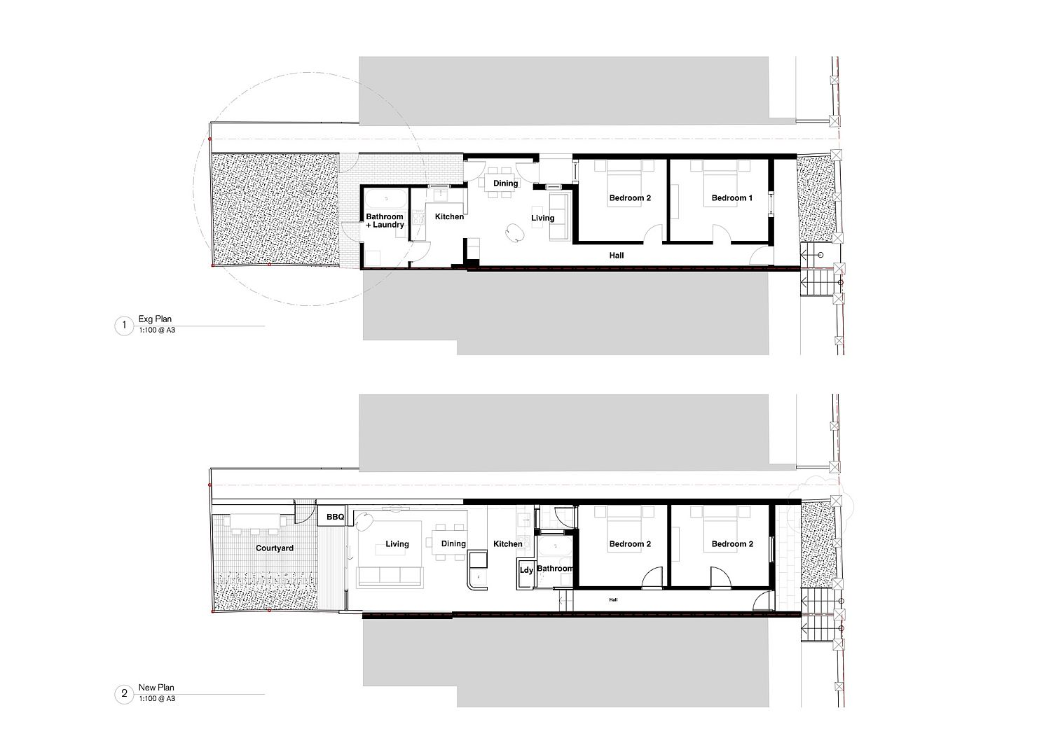 Floor plan of the Brick House before and after renovation
