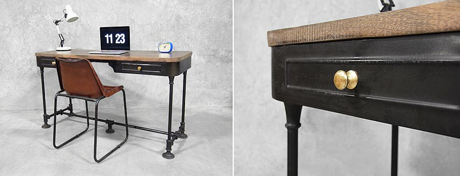 French Industrial Desk with wooden top