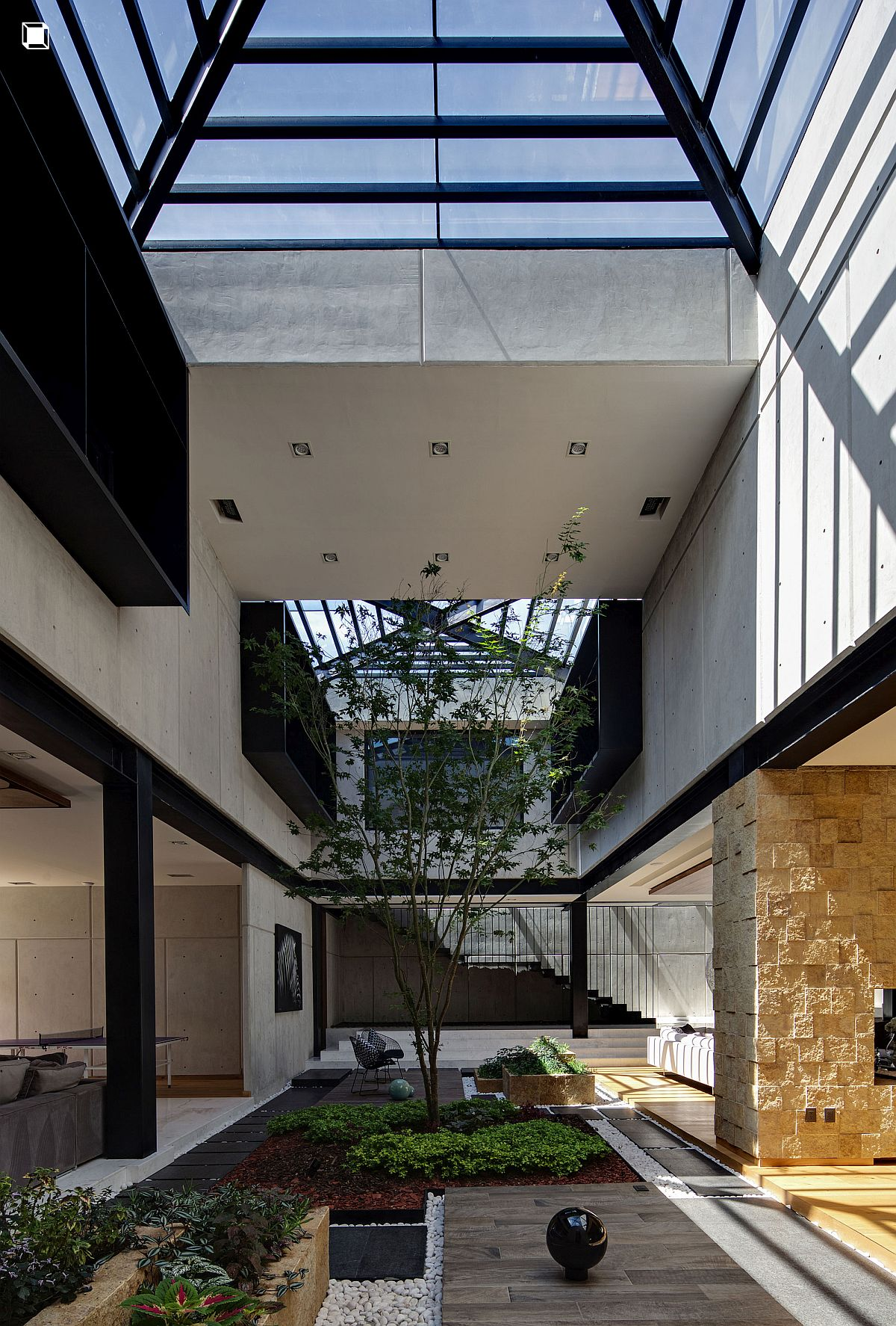 Glass domes and ceilings keep out cold winds and create green spaces inside the RO House