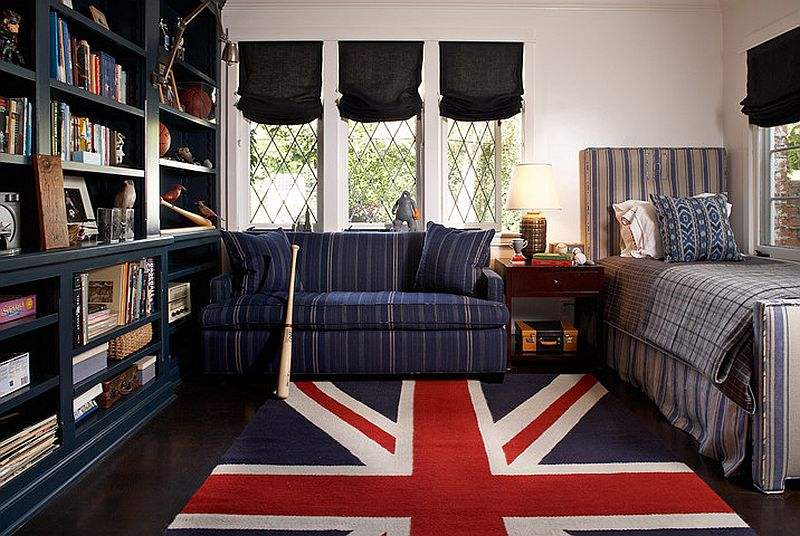 Gorgeous Kids' room with eclectic style and a striking Union Jack rug