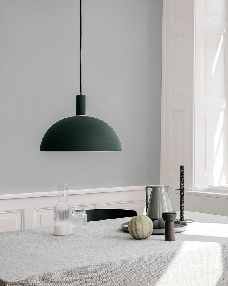 Grey meets green in a table setting from ferm LIVING