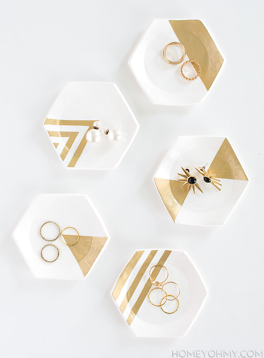 Hexagonal-ring-dishes-with-metallic-accents