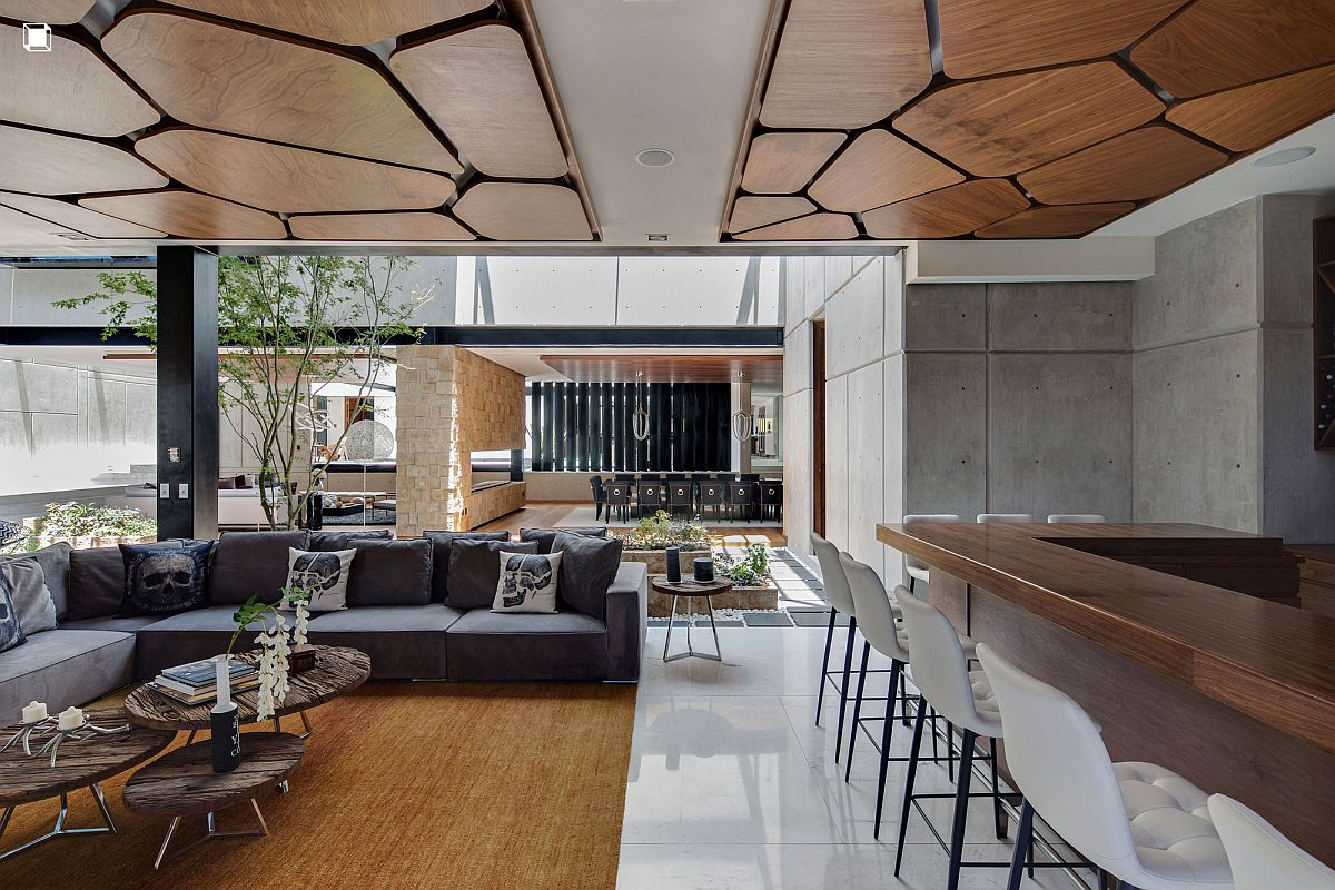 Innovative design of the wooden ceiling steals the show here