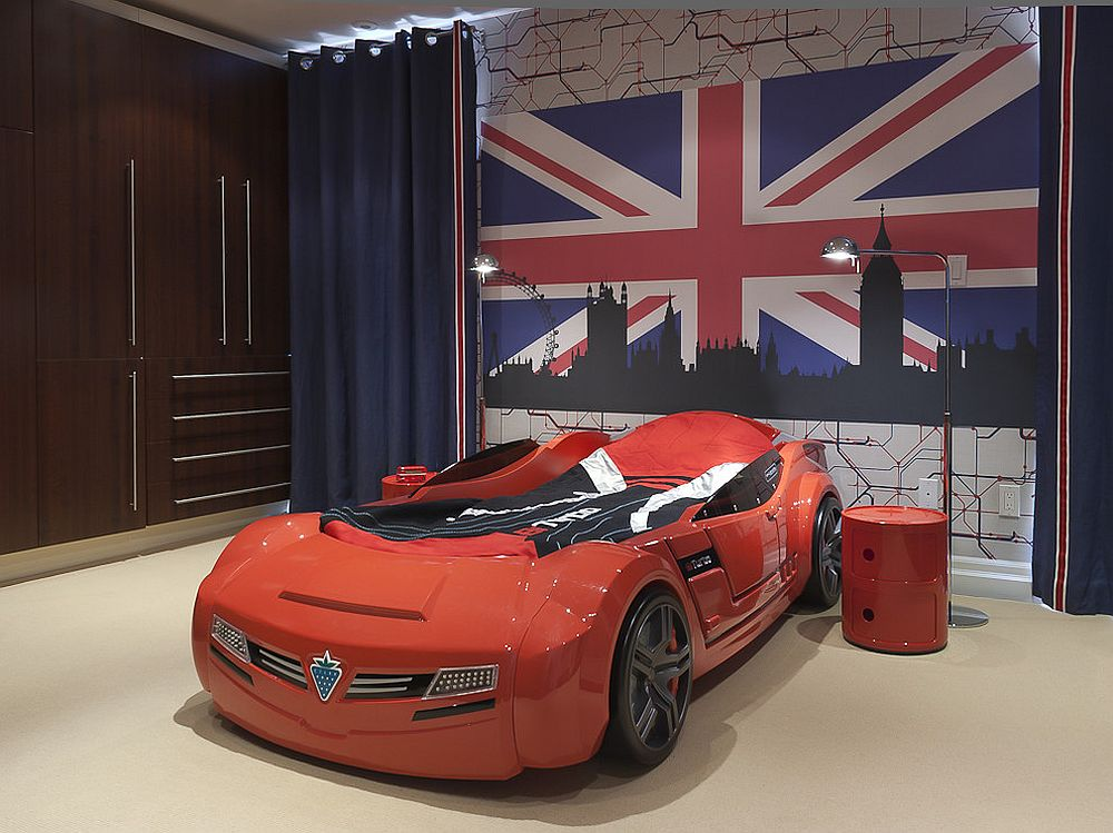 Kids' room with race car bed, Limited Edition Red Componibili storage unit and Union Jack wall art in the backdrop